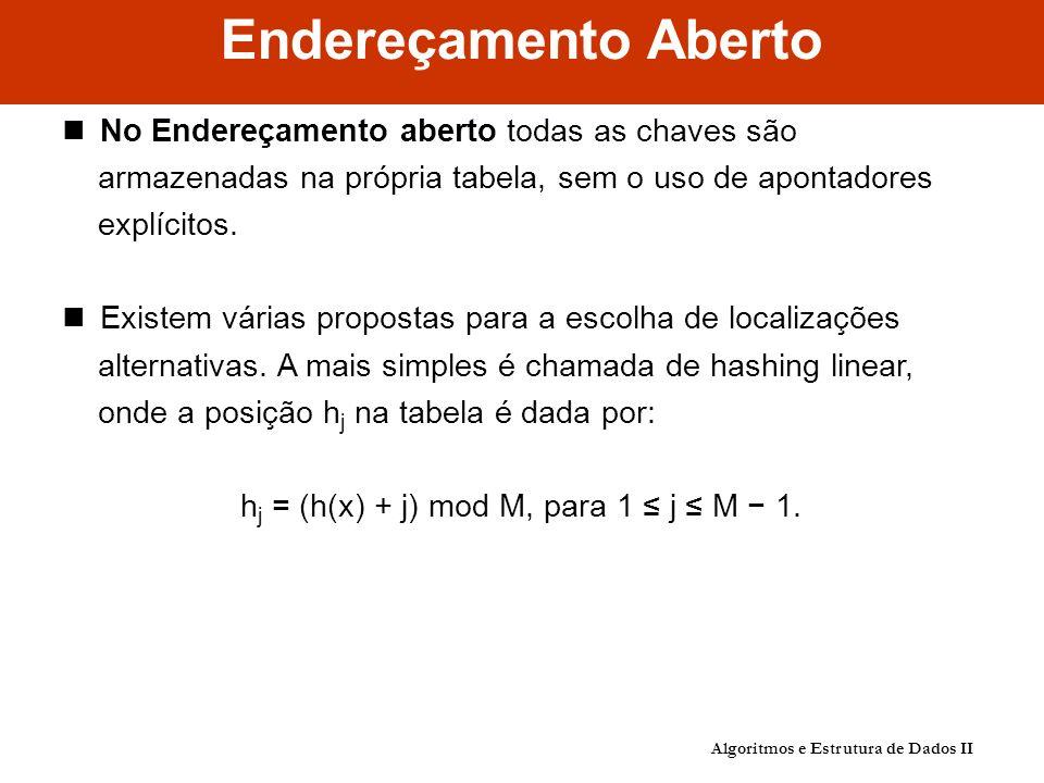 Endereçamento Aberto No Endereçamento aberto todas as chaves são armazenadas na própria tabela, sem o uso de apontadores explícitos.