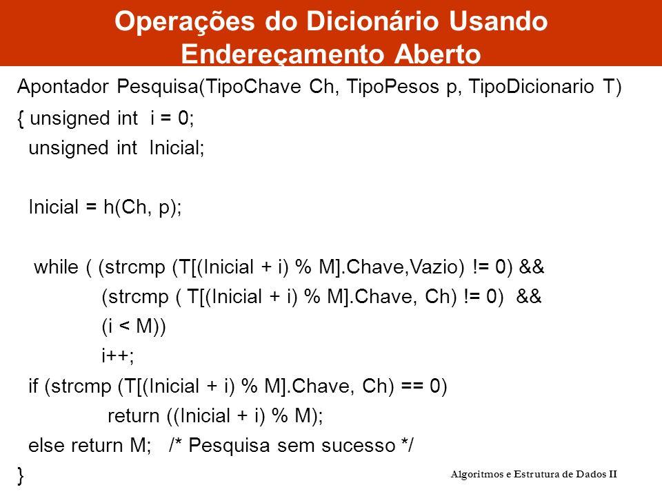 Operações do Dicionário Usando Endereçamento Aberto Apontador Pesquisa(TipoChave Ch, TipoPesos p, TipoDicionario T) { unsigned int i = 0; unsigned int Inicial; Inicial = h(Ch, p); while ( (strcmp (T[(Inicial + i) % M].Chave,Vazio) != 0) && (strcmp ( T[(Inicial + i) % M].Chave, Ch) != 0) && (i < M)) i++; if (strcmp (T[(Inicial + i) % M].Chave, Ch) == 0) return ((Inicial + i) % M); else return M; /* Pesquisa sem sucesso */ } Algoritmos e Estrutura de Dados II
