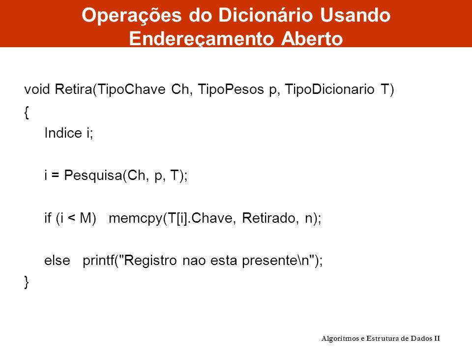 Operações do Dicionário Usando Endereçamento Aberto void Retira(TipoChave Ch, TipoPesos p, TipoDicionario T) { Indice i; i = Pesquisa(Ch, p, T); if (i < M) memcpy(T[i].Chave, Retirado, n); else printf( Registro nao esta presente\n ); } Algoritmos e Estrutura de Dados II