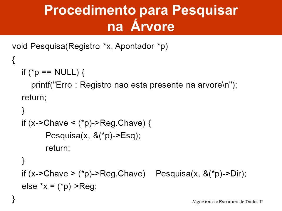 Procedimento para Pesquisar na Árvore void Pesquisa(Registro *x, Apontador *p) { if (*p == NULL) { printf( Erro : Registro nao esta presente na arvore\n ); return; } if (x->Chave Reg.Chave) { Pesquisa(x, &(*p)->Esq); return; } if (x->Chave > (*p)->Reg.Chave) Pesquisa(x, &(*p)->Dir); else *x = (*p)->Reg; } Algoritmos e Estrutura de Dados II
