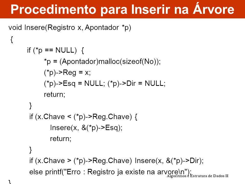 Procedimento para Inserir na Árvore Algoritmos e Estrutura de Dados II void Insere(Registro x, Apontador *p) { if (*p == NULL) { *p = (Apontador)malloc(sizeof(No)); (*p)->Reg = x; (*p)->Esq = NULL; (*p)->Dir = NULL; return; } if (x.Chave Reg.Chave) { Insere(x, &(*p)->Esq); return; } if (x.Chave > (*p)->Reg.Chave) Insere(x, &(*p)->Dir); else printf( Erro : Registro ja existe na arvore\n ); }