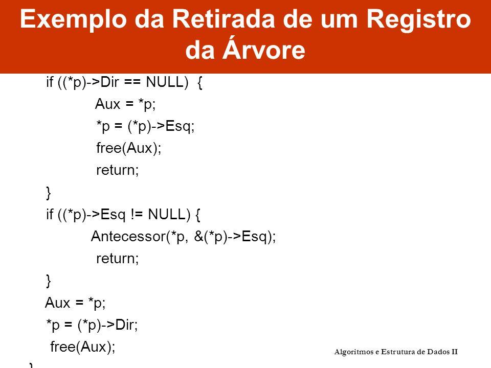 Exemplo da Retirada de um Registro da Árvore if ((*p)->Dir == NULL) { Aux = *p; *p = (*p)->Esq; free(Aux); return; } if ((*p)->Esq != NULL) { Antecessor(*p, &(*p)->Esq); return; } Aux = *p; *p = (*p)->Dir; free(Aux); } Algoritmos e Estrutura de Dados II