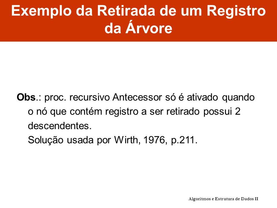 Exemplo da Retirada de um Registro da Árvore Obs.: proc.