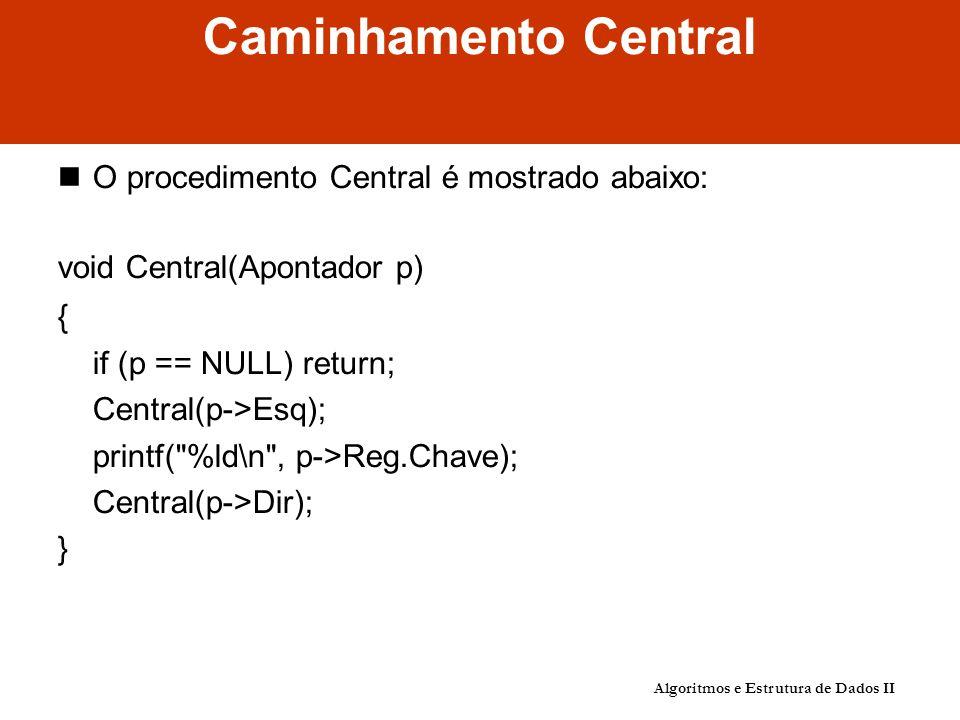 Caminhamento Central O procedimento Central é mostrado abaixo: void Central(Apontador p) { if (p == NULL) return; Central(p->Esq); printf( %ld\n , p->Reg.Chave); Central(p->Dir); } Algoritmos e Estrutura de Dados II