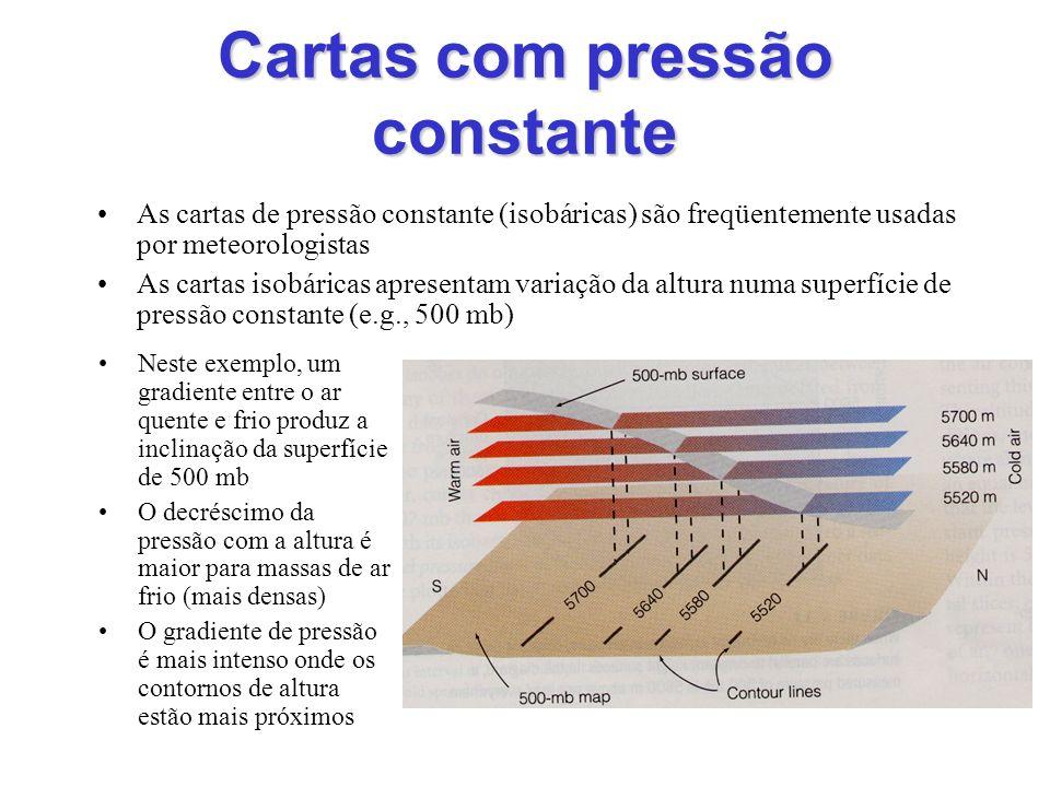 Cartas com pressão constante Neste exemplo, um gradiente entre o ar quente e frio produz a inclinação da superfície de 500 mb O decréscimo da pressão