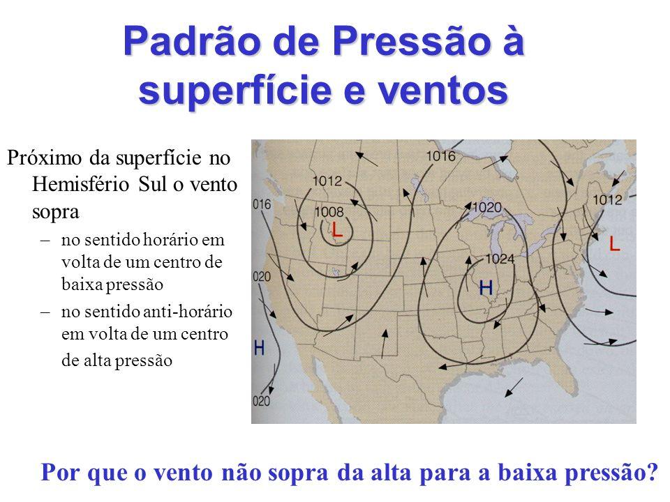 Padrão de Pressão à superfície e ventos Próximo da superfície no Hemisfério Sul o vento sopra –no sentido horário em volta de um centro de baixa press