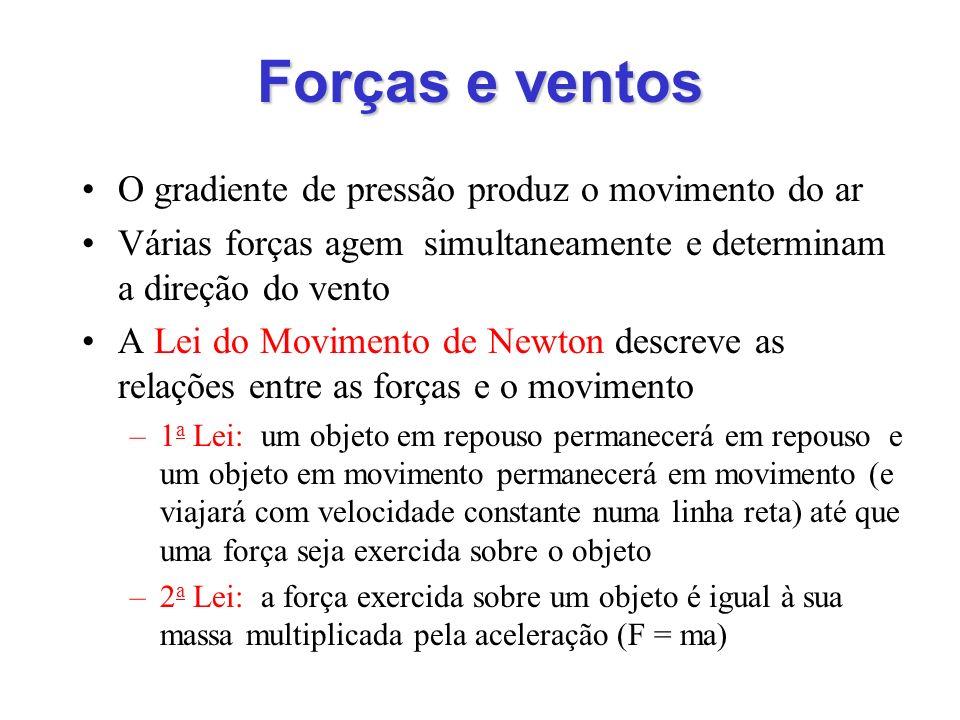 Forças e ventos O gradiente de pressão produz o movimento do ar Várias forças agem simultaneamente e determinam a direção do vento A Lei do Movimento