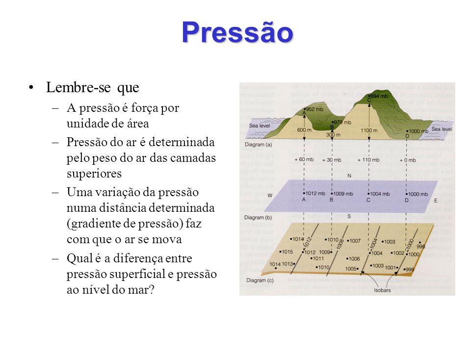 Pressão Lembre-se que –A pressão é força por unidade de área –Pressão do ar é determinada pelo peso do ar das camadas superiores –Uma variação da pres