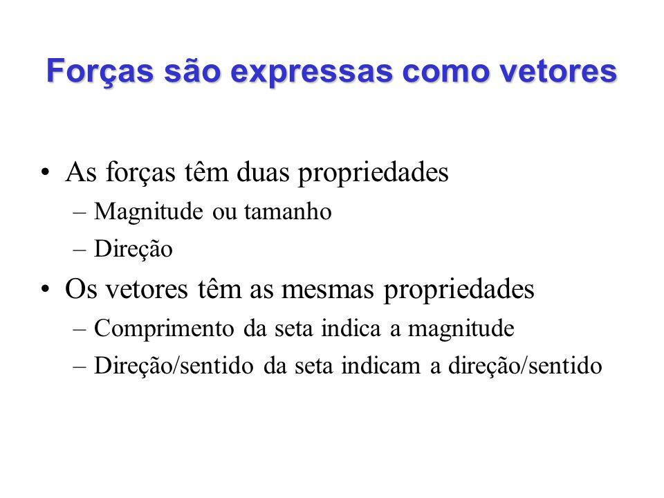 Forças são expressas como vetores As forças têm duas propriedades –Magnitude ou tamanho –Direção Os vetores têm as mesmas propriedades –Comprimento da