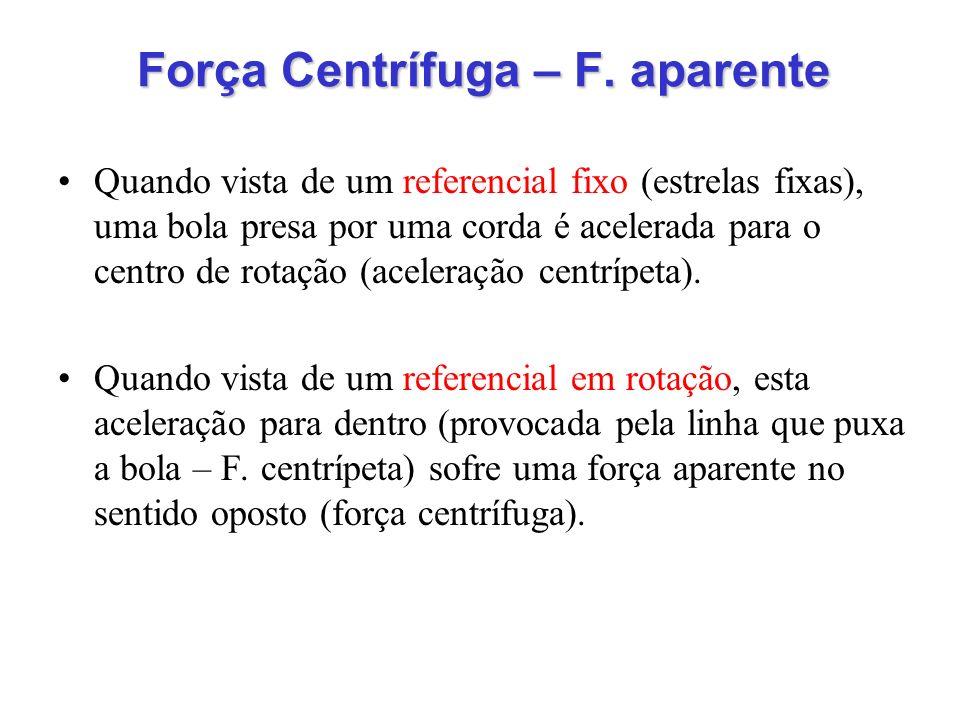 Força Centrífuga – F. aparente Quando vista de um referencial fixo (estrelas fixas), uma bola presa por uma corda é acelerada para o centro de rotação