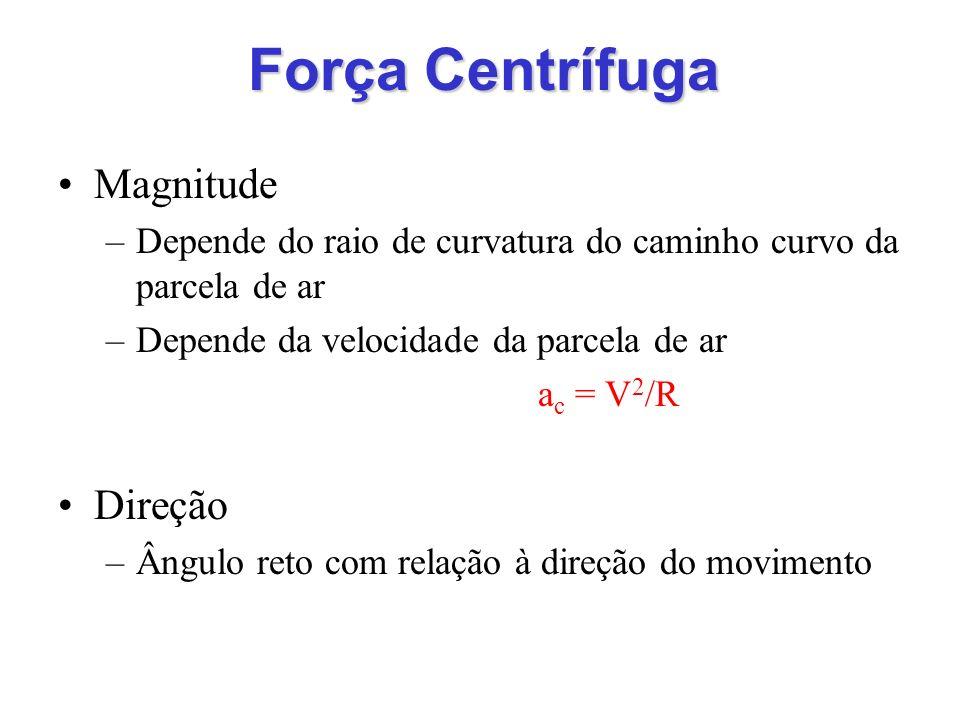 Força Centrífuga Magnitude –Depende do raio de curvatura do caminho curvo da parcela de ar –Depende da velocidade da parcela de ar a c = V 2 /R Direçã