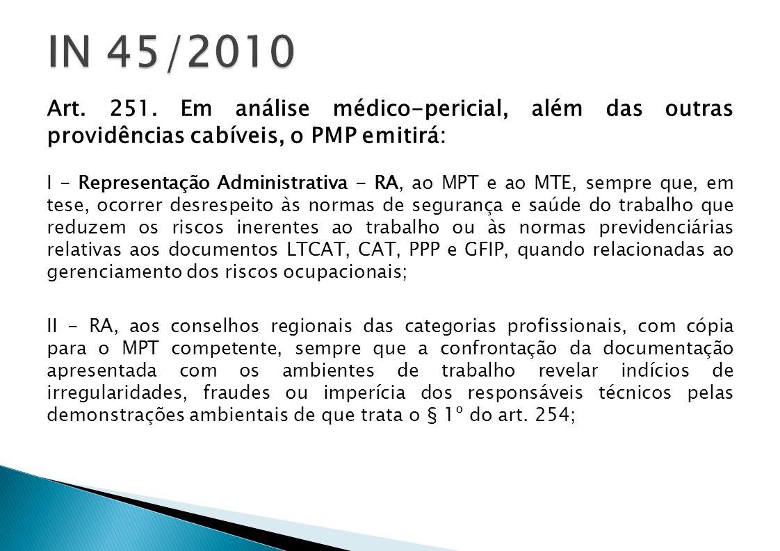 Art. 251. Em análise médico-pericial, além das outras providências cabíveis, o PMP emitirá: I - Representação Administrativa - RA, ao MPT e ao MTE, se