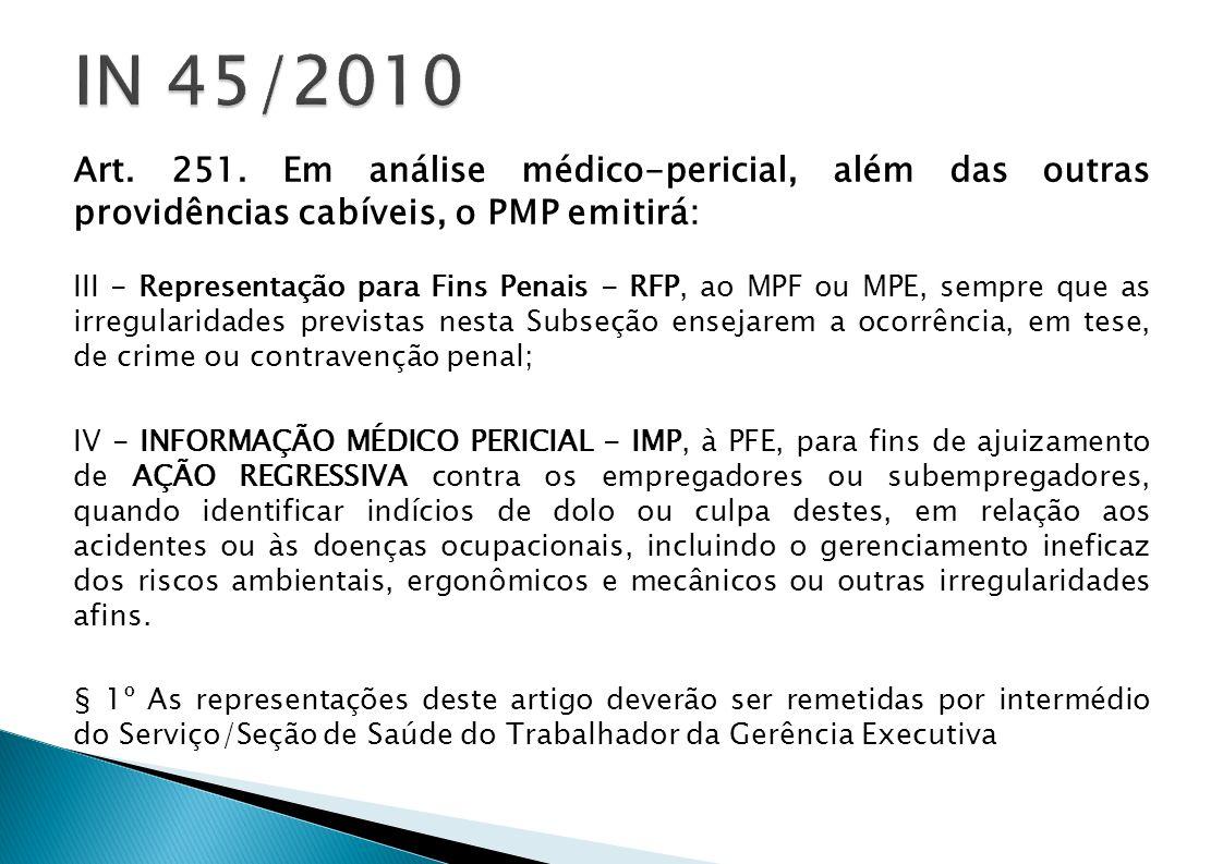 Art. 251. Em análise médico-pericial, além das outras providências cabíveis, o PMP emitirá: III - Representação para Fins Penais - RFP, ao MPF ou MPE,