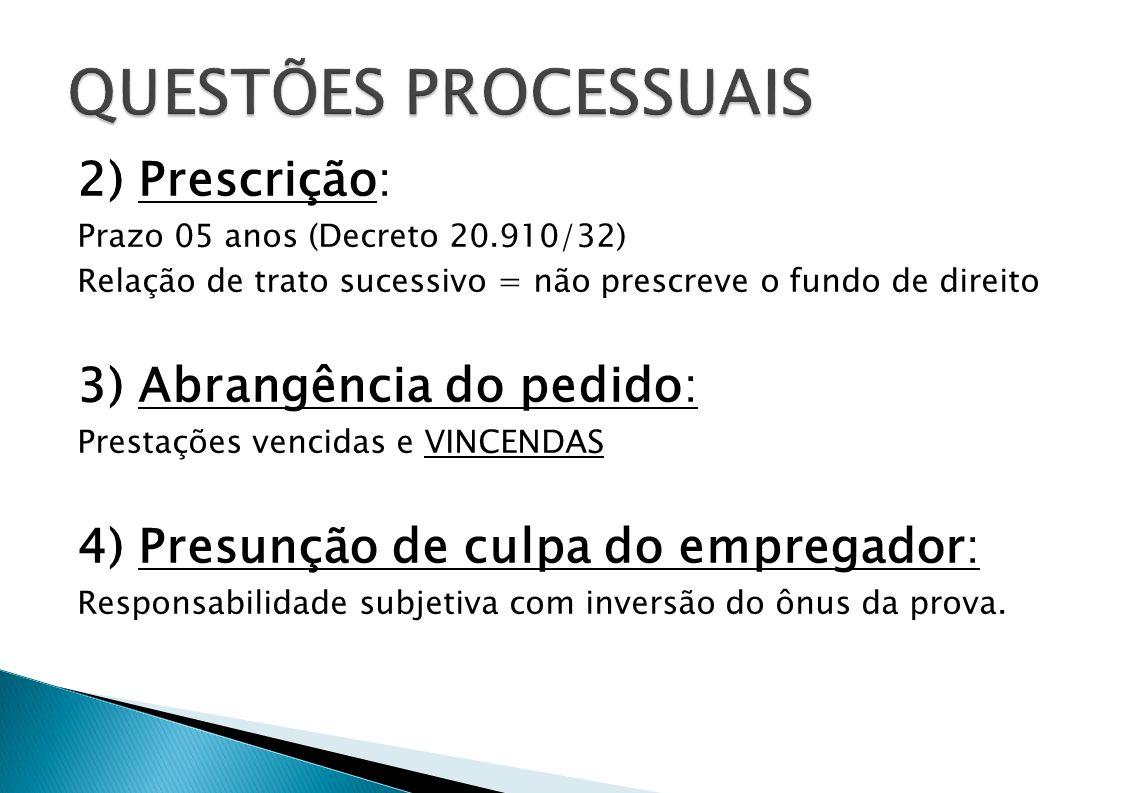 2) Prescrição: Prazo 05 anos (Decreto 20.910/32) Relação de trato sucessivo = não prescreve o fundo de direito 3) Abrangência do pedido: Prestações ve