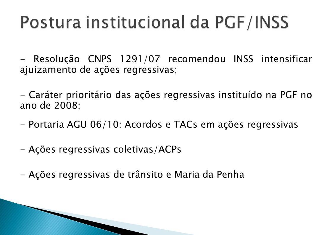 - Resolução CNPS 1291/07 recomendou INSS intensificar ajuizamento de ações regressivas; - Caráter prioritário das ações regressivas instituído na PGF