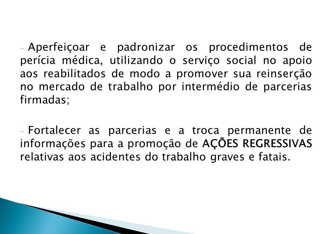 - Aperfeiçoar e padronizar os procedimentos de perícia médica, utilizando o serviço social no apoio aos reabilitados de modo a promover sua reinserção