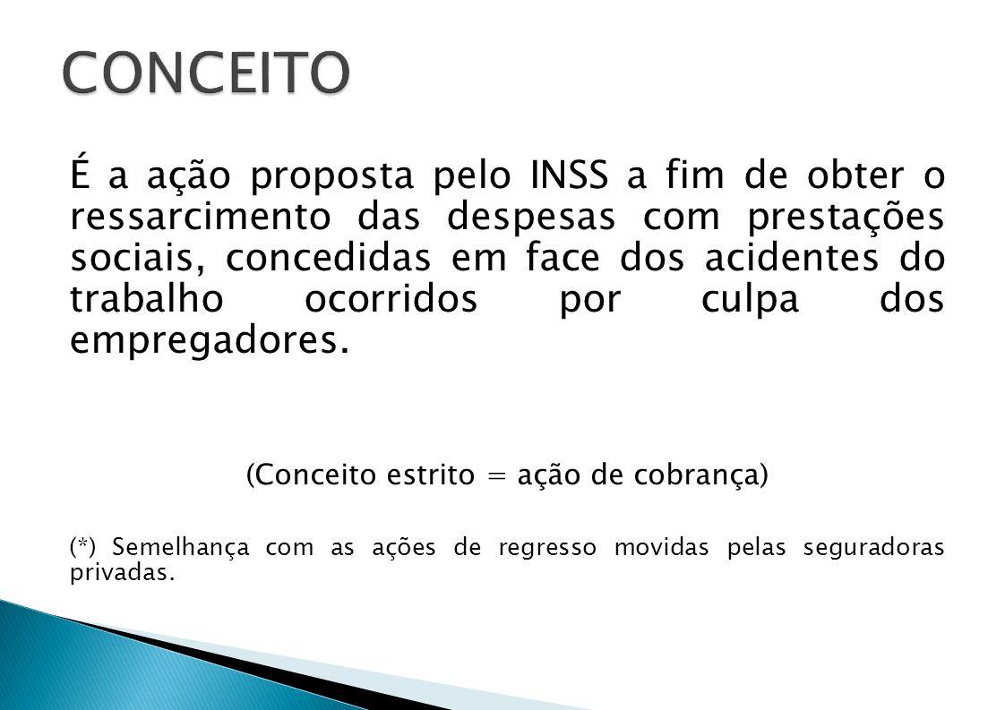 É a ação proposta pelo INSS a fim de obter o ressarcimento das despesas com prestações sociais, concedidas em face dos acidentes do trabalho ocorridos