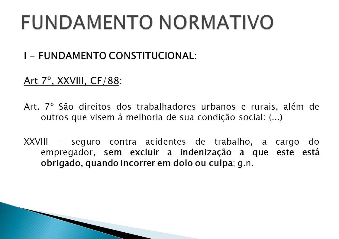 I - FUNDAMENTO CONSTITUCIONAL: Art 7º, XXVIII, CF/88: Art. 7º São direitos dos trabalhadores urbanos e rurais, além de outros que visem à melhoria de