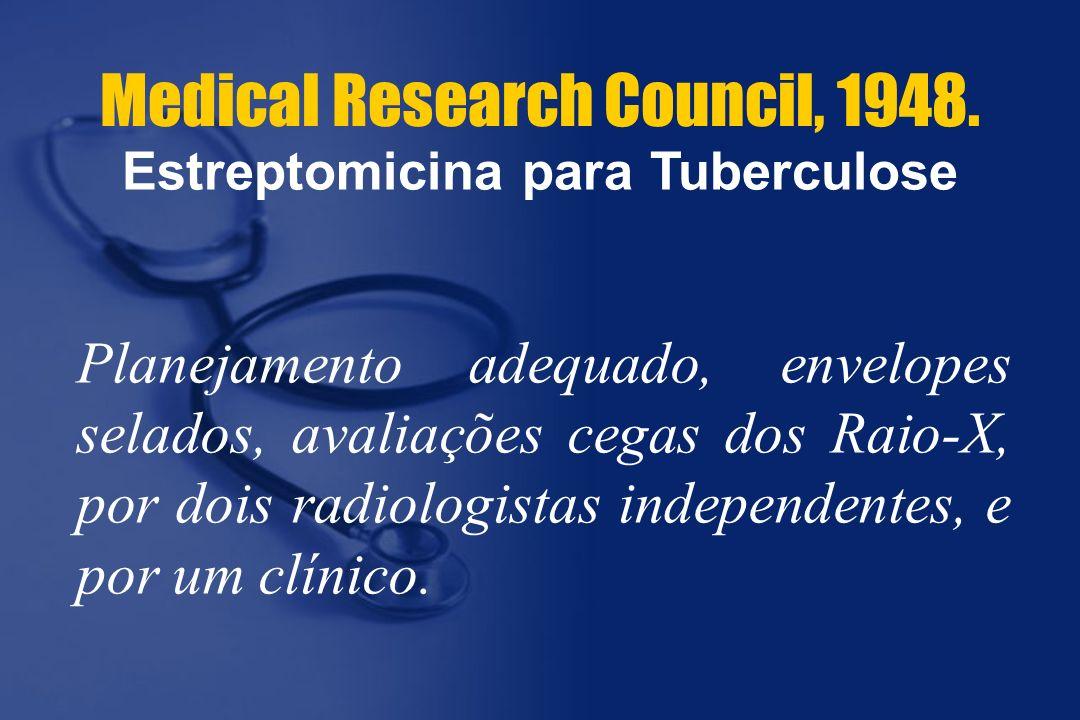 Medical Research Council, 1948. Planejamento adequado, envelopes selados, avaliações cegas dos Raio-X, por dois radiologistas independentes, e por um