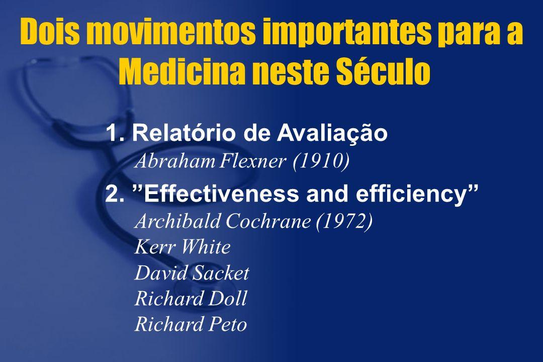 Dois movimentos importantes para a Medicina neste Século 1. Relatório de Avaliação Abraham Flexner (1910) 2. Effectiveness and efficiency Archibald Co