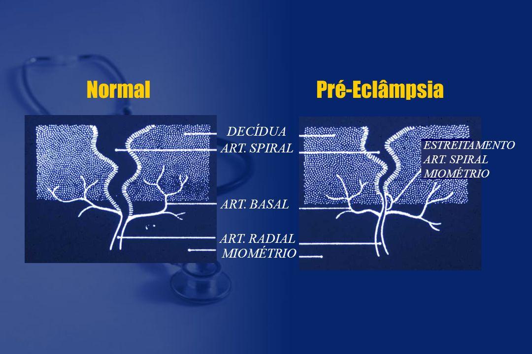 NormalPré-Eclâmpsia DECÍDUA ART. SPIRAL ART. BASAL ART. RADIAL MIOMÉTRIO ESTREITAMENTO ART. SPIRAL MIOMÉTRIO