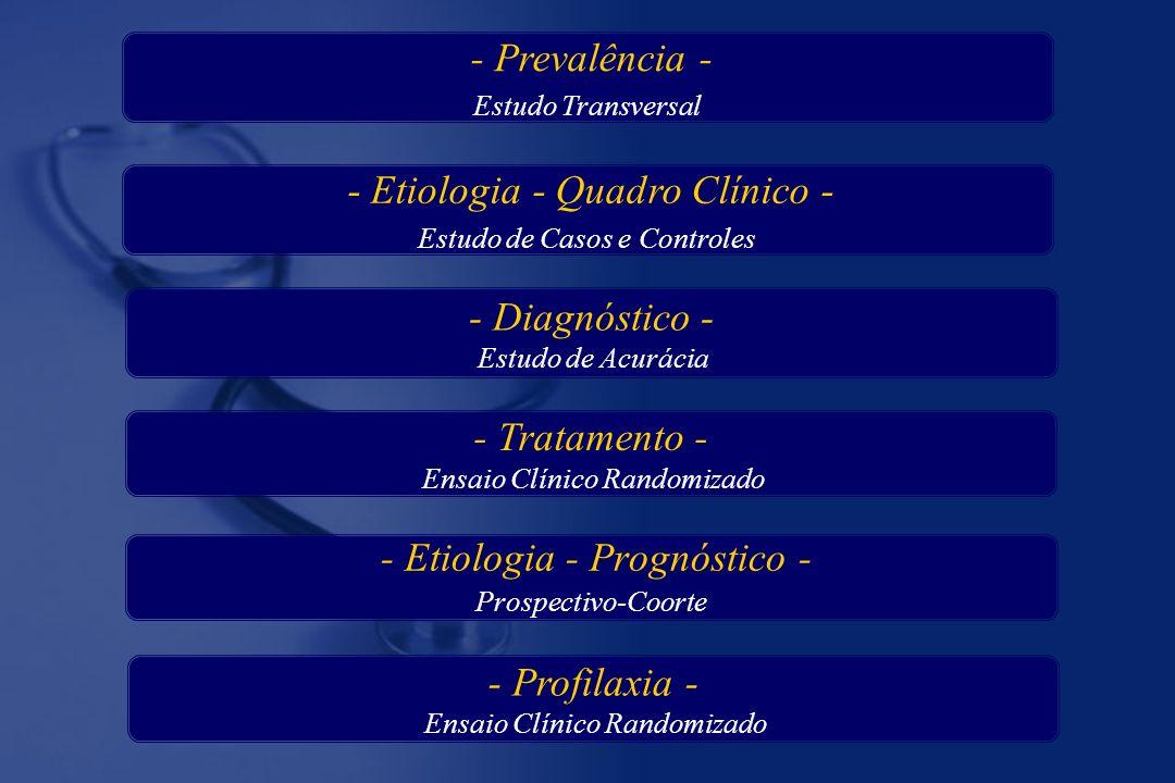 - Etiologia - Prognóstico - Prospectivo-Coorte - Diagnóstico - Estudo de Acurácia - Tratamento - Ensaio Clínico Randomizado - Profilaxia - Ensaio Clínico Randomizado - Etiologia - Quadro Clínico - Estudo de Casos e Controles - Prevalência - Estudo Transversal