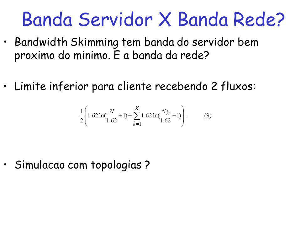 Banda Servidor X Banda Rede. Bandwidth Skimming tem banda do servidor bem proximo do minimo.