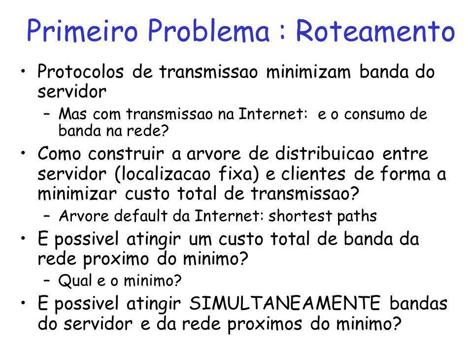 Primeiro Problema : Roteamento Protocolos de transmissao minimizam banda do servidor –Mas com transmissao na Internet: e o consumo de banda na rede.