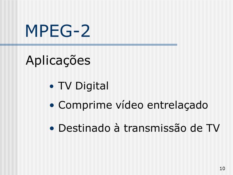 10 MPEG-2 Aplicações TV Digital Comprime vídeo entrelaçado Destinado à transmissão de TV digital