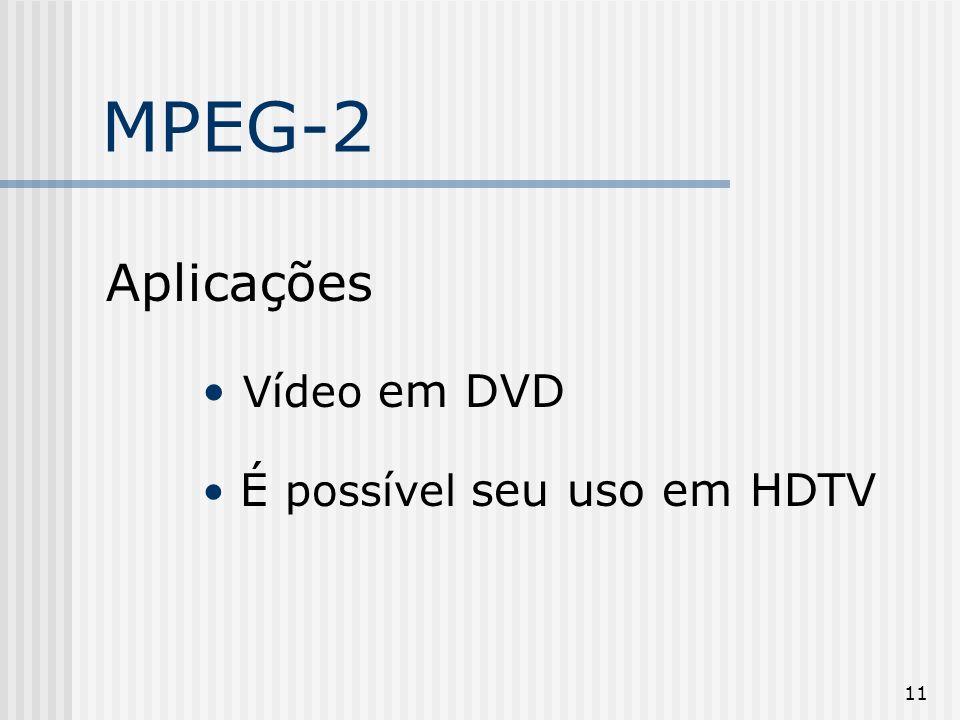 11 MPEG-2 Aplicações Vídeo em DVD É possível seu uso em HDTV