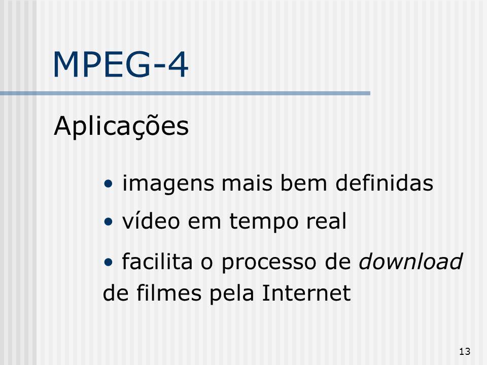 13 MPEG-4 Aplicações imagens mais bem definidas vídeo em tempo real facilita o processo de download de filmes pela Internet