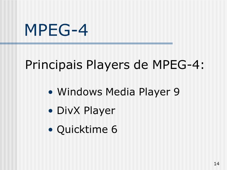 14 MPEG-4 Principais Players de MPEG-4: Windows Media Player 9 DivX Player Quicktime 6