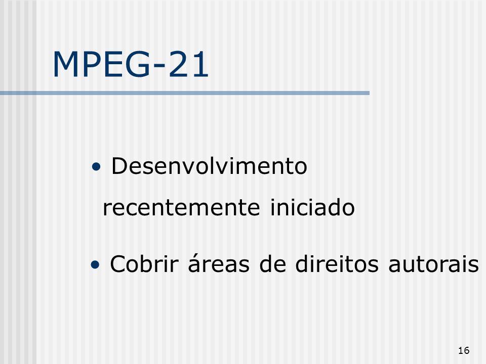 16 MPEG-21 Desenvolvimento recentemente iniciado Cobrir áreas de direitos autorais