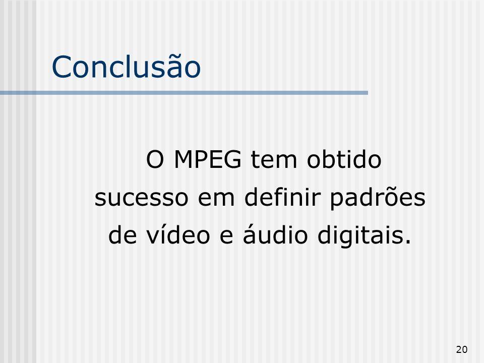 20 Conclusão O MPEG tem obtido sucesso em definir padrões de vídeo e áudio digitais.