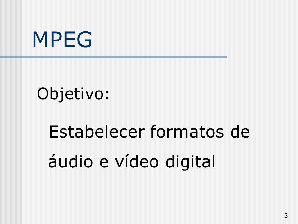 4 MPEG Usa dois tipos de compressão : baseada nas cores divisão de blocos de 16x16 pixels