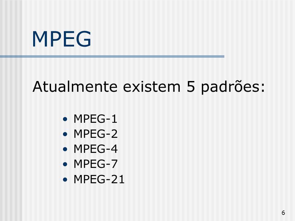 7 MPEG-1 Primeiro padrão de codificação de vídeo e áudio digital.