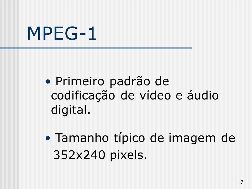 7 MPEG-1 Primeiro padrão de codificação de vídeo e áudio digital. Tamanho típico de imagem de 352x240 pixels.