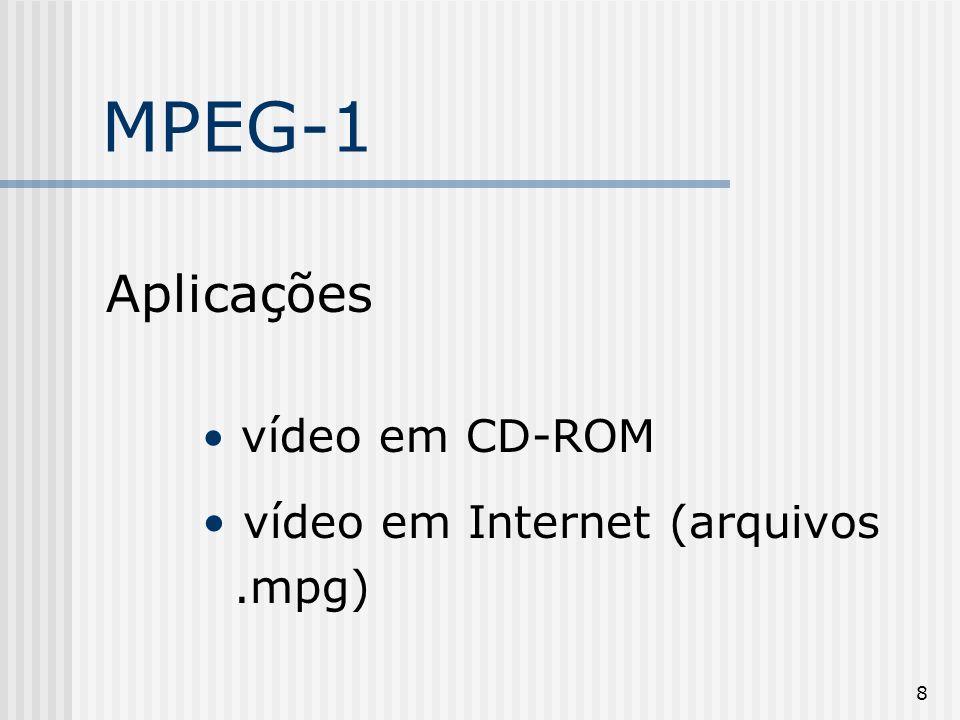 19 MPEG-4 x Outros formatos O MPEG-4 é a tecnologia mais adequada quando se fala de transmissão pela Internet