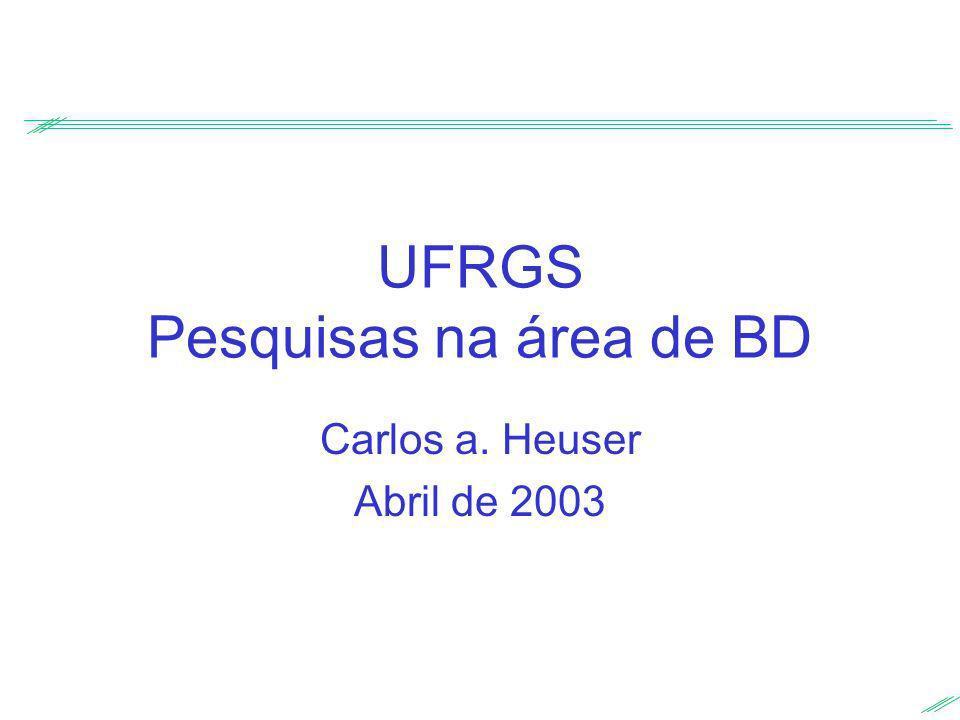 UFRGS Pesquisas na área de BD Carlos a. Heuser Abril de 2003