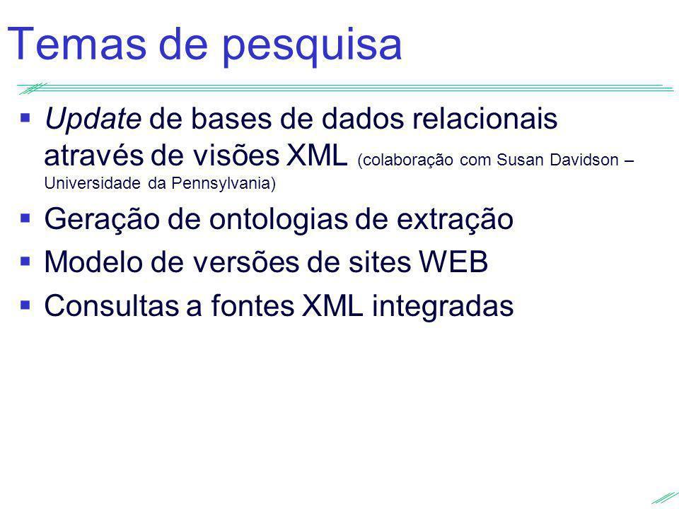 Temas de pesquisa Update de bases de dados relacionais através de visões XML (colaboração com Susan Davidson – Universidade da Pennsylvania) Geração d