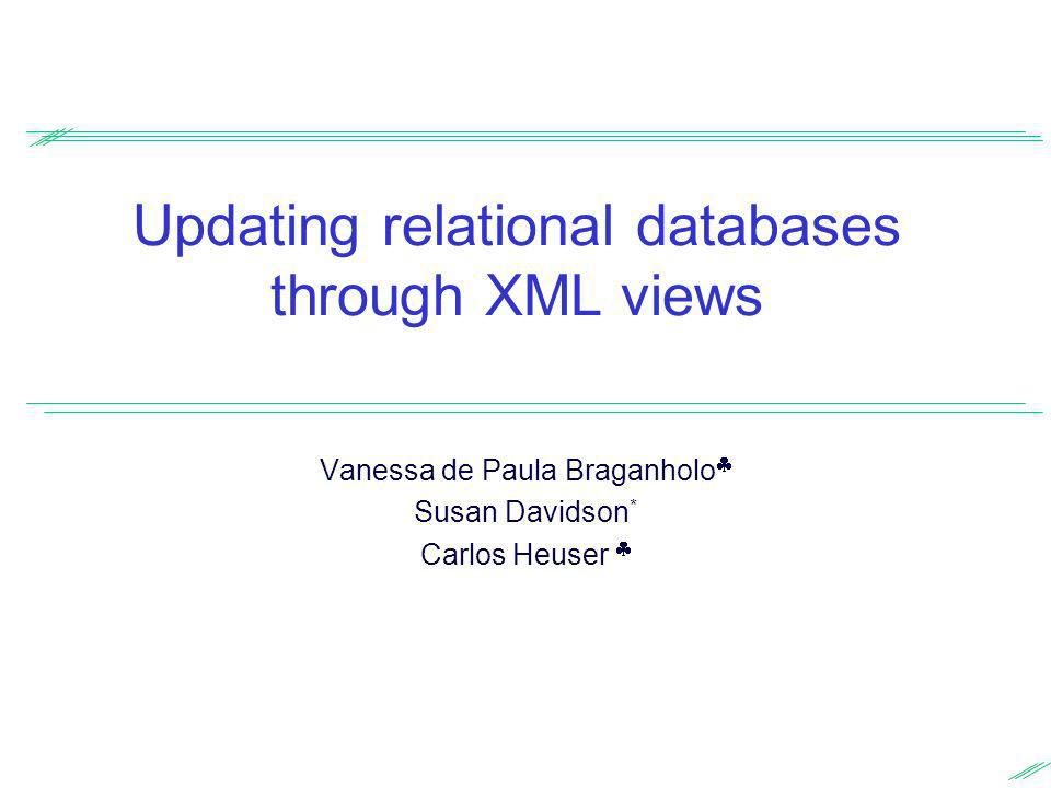 Overview Main goal: Investigate the problem of updating relational databases through XML views Extract XML views from relational databases Update the view Map the changes back to the underlying relational database