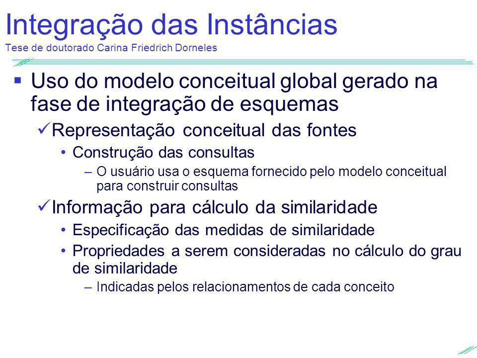 Integração das Instâncias Tese de doutorado Carina Friedrich Dorneles Uso do modelo conceitual global gerado na fase de integração de esquemas Represe