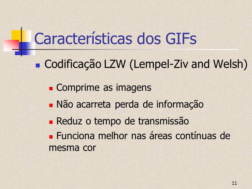 11 Características dos GIFs Codificação LZW (Lempel-Ziv and Welsh) Funciona melhor nas áreas contínuas de mesma cor Reduz o tempo de transmissão Não a