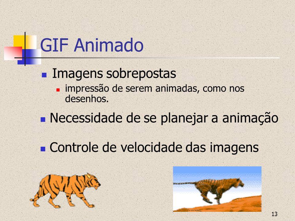 13 GIF Animado Imagens sobrepostas impressão de serem animadas, como nos desenhos. Controle de velocidade das imagens Necessidade de se planejar a ani