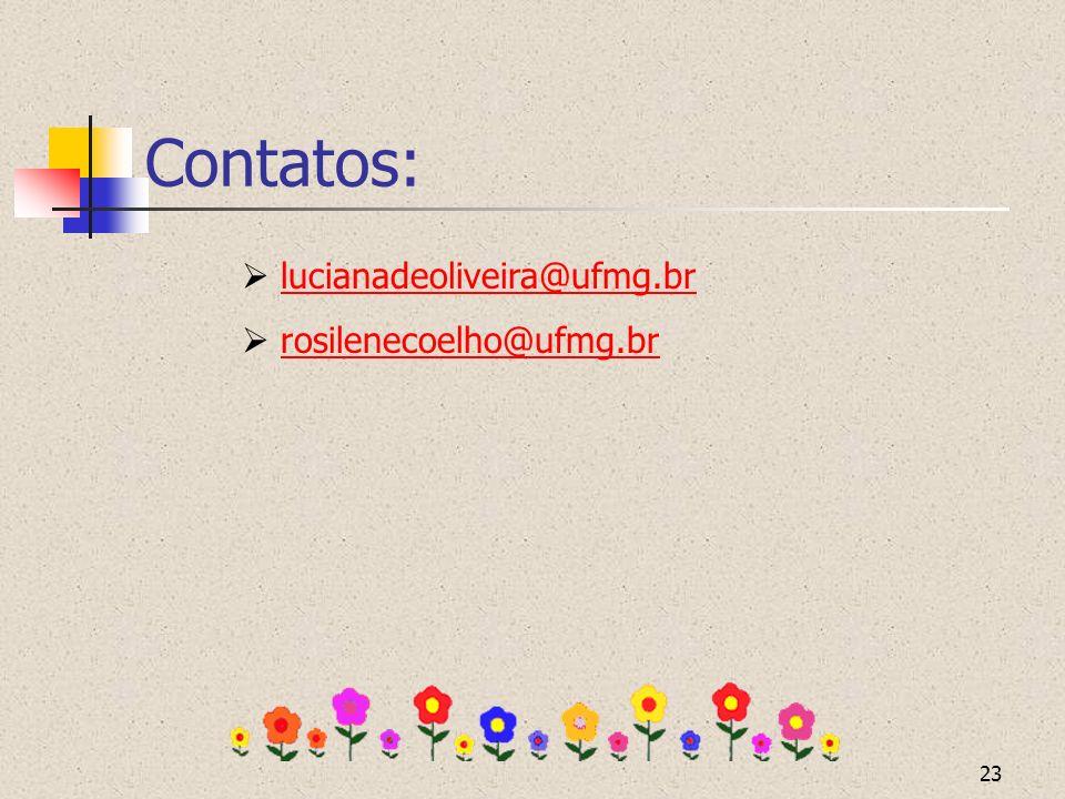 23 Contatos: lucianadeoliveira@ufmg.br rosilenecoelho@ufmg.br