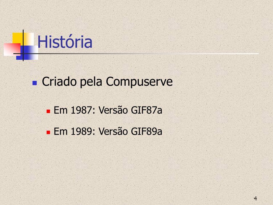 4 História Criado pela Compuserve Em 1987: Versão GIF87a Em 1989: Versão GIF89a