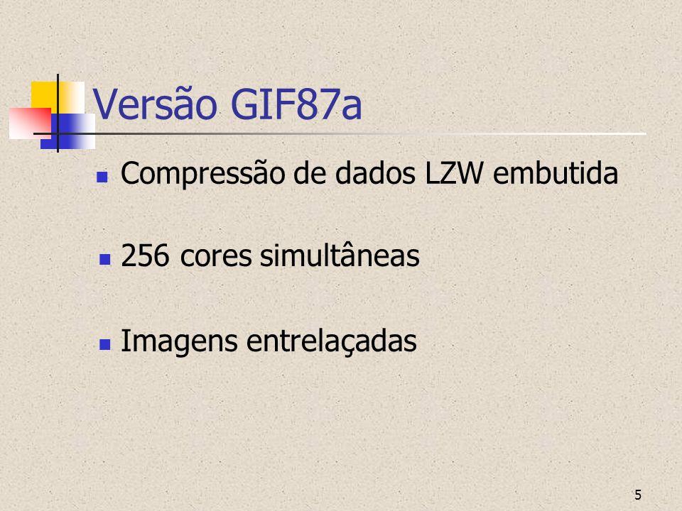 6 Versão GIF87a Posicionamento da imagem em área de tela virtual Múltiplas imagens comprimidas no mesmo arquivo Permite animação