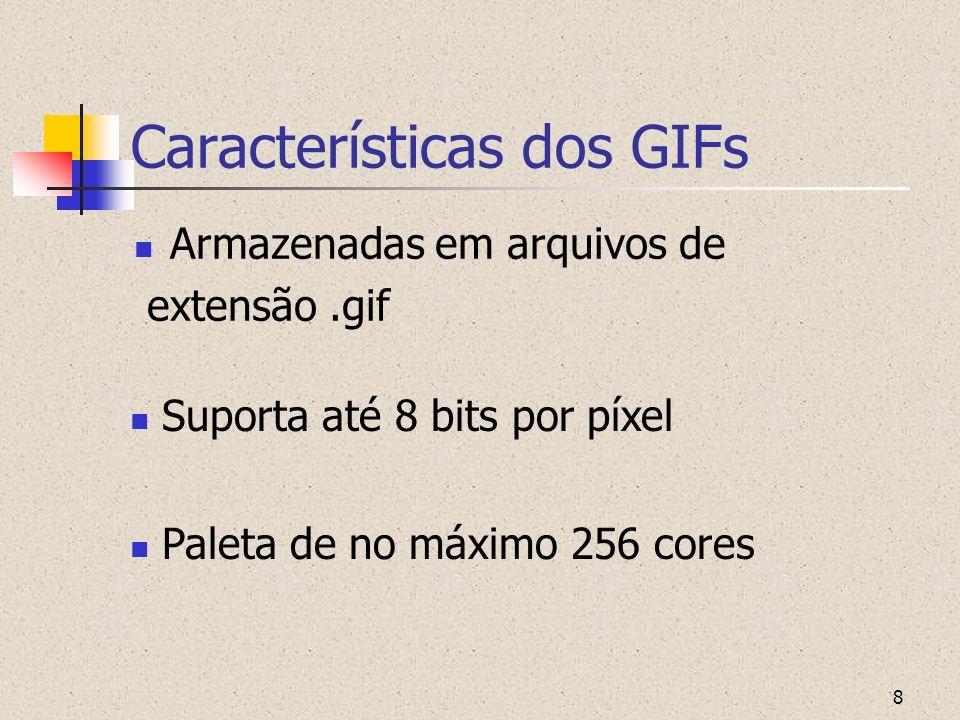 8 Características dos GIFs Armazenadas em arquivos de extensão.gif Suporta até 8 bits por píxel Paleta de no máximo 256 cores