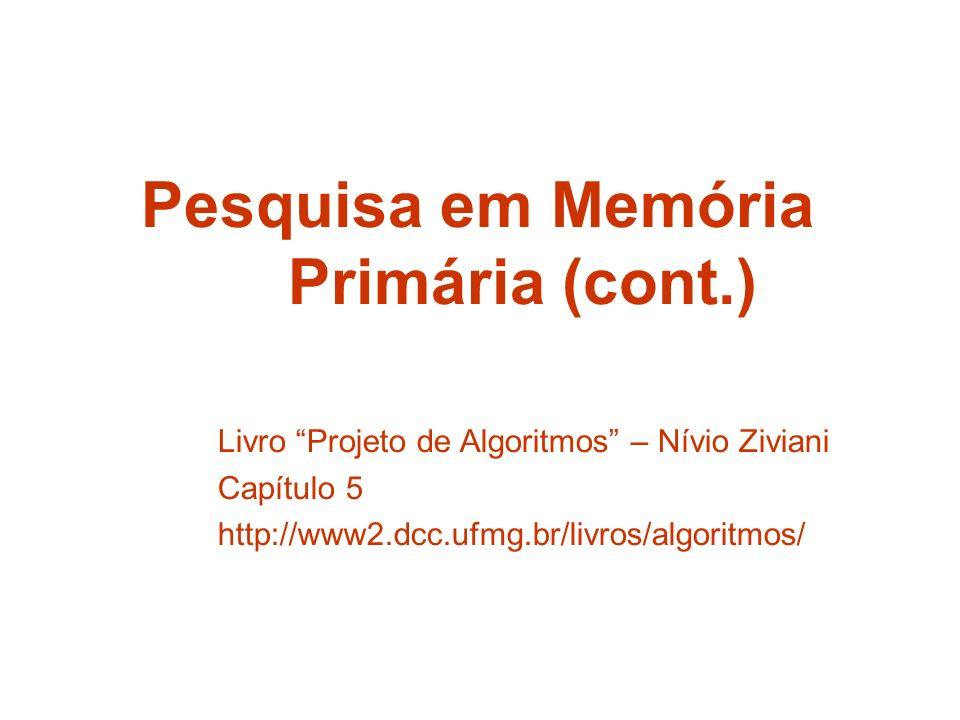 Pesquisa em Memória Primária (cont.) Livro Projeto de Algoritmos – Nívio Ziviani Capítulo 5 http://www2.dcc.ufmg.br/livros/algoritmos/