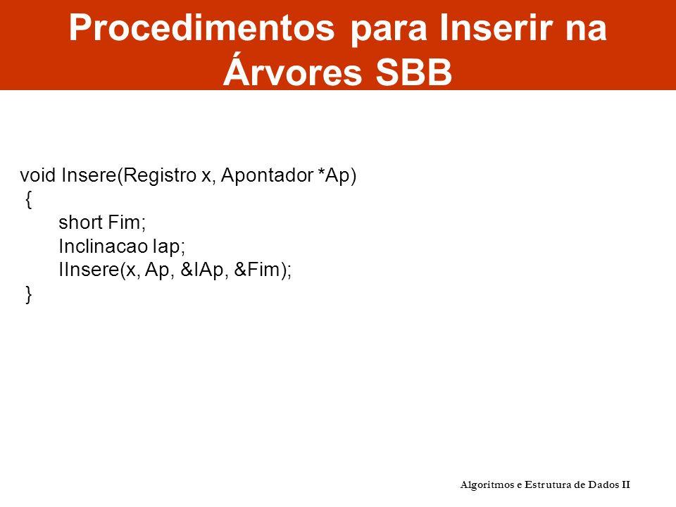 Algoritmos e Estrutura de Dados II Procedimentos para Inserir na Árvores SBB void Insere(Registro x, Apontador *Ap) { short Fim; Inclinacao Iap; IInse